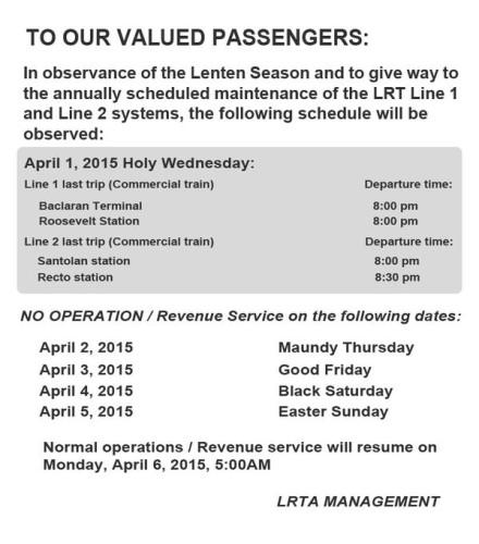 LRT Holy Week Schedule