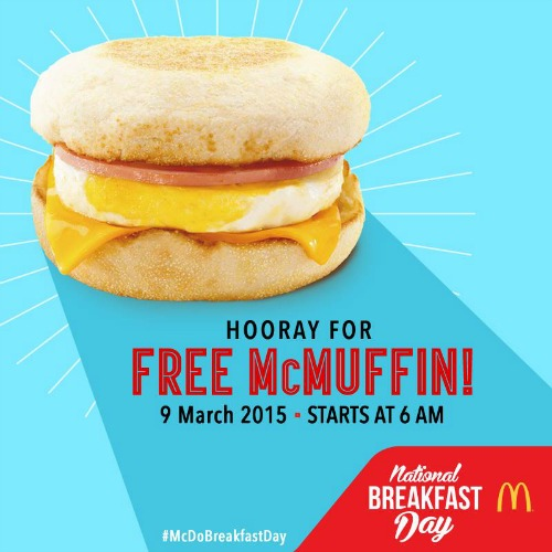 McDonalds National Breakfast Day March 9 Free McMuffin