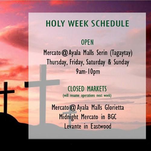 Mercato Holy Week Schedule