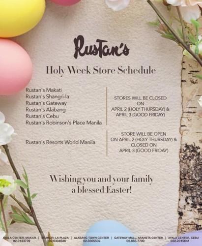Rustans Holy Week Schedule