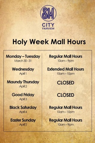 SM City Fairview Holy Week Mall Hours