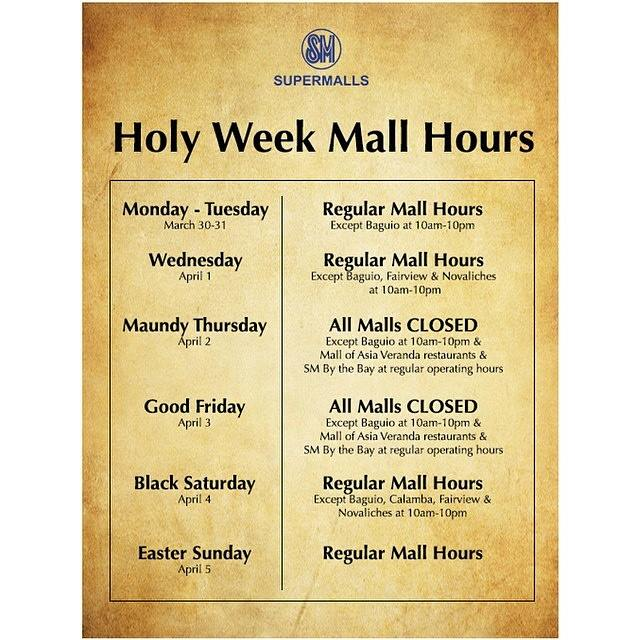 SM Supermalls Mall Hours Sta Mesa Megamall Mall of Asia North Edsa Southmall Fairview Makati