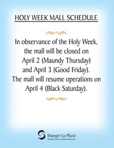 Shangrila Holy Week Schedule