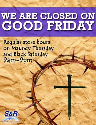 SnR Good Friday Holy Week Schedule
