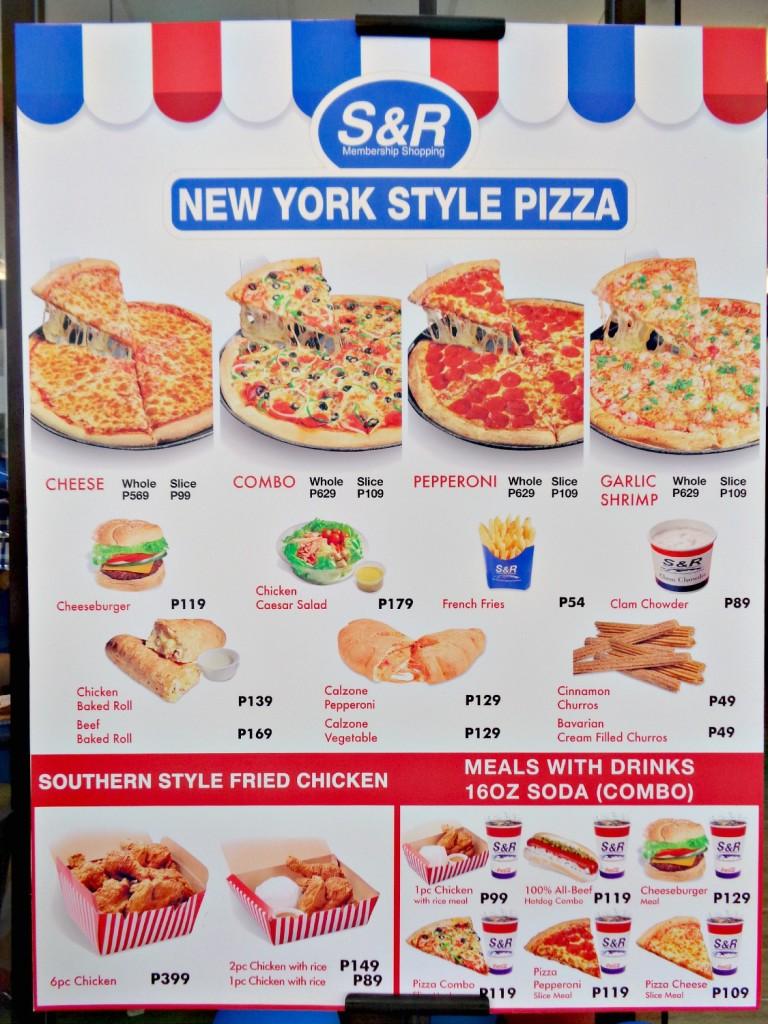 SnR Tagaytay Ayala Mall Serin New York Style Pizza Menu