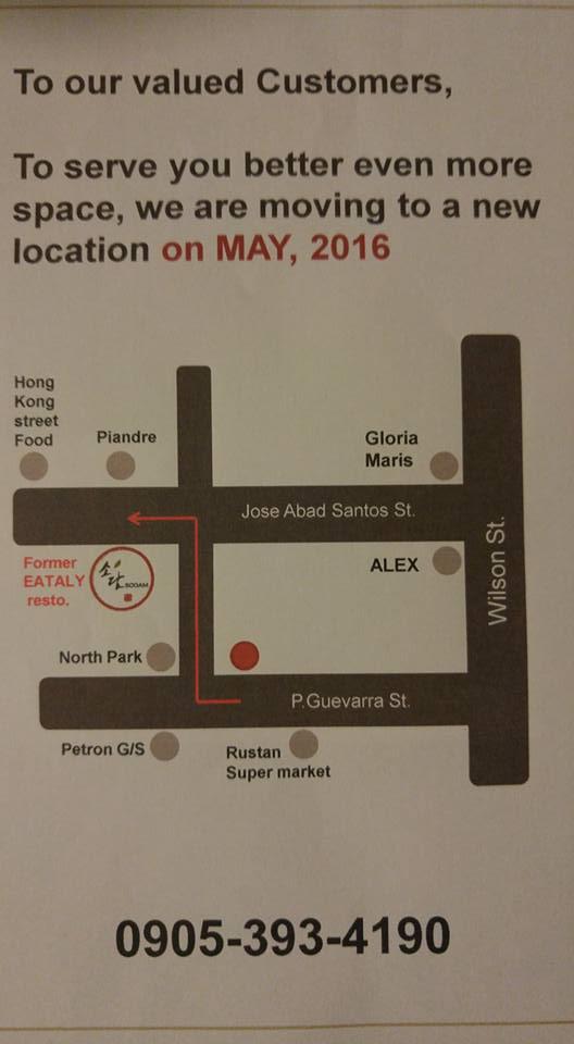 Sodam Korean BBQ New Location Map