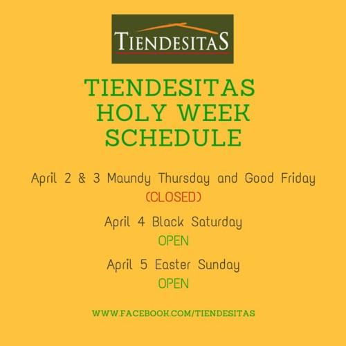 Tiendesitas Holy Week Schedule