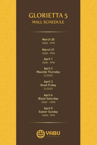 Yabu Holy Week Schedule Glorietta5