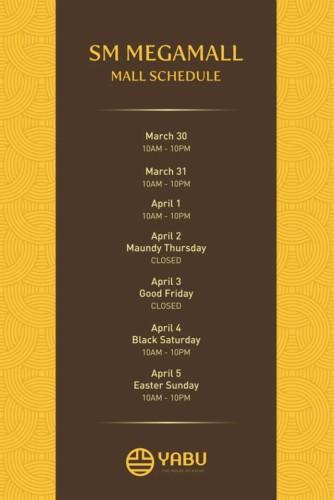 Yabu Holy Week Schedule Megamall