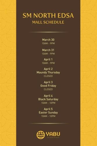 Yabu Holy Week Schedule North Edsa