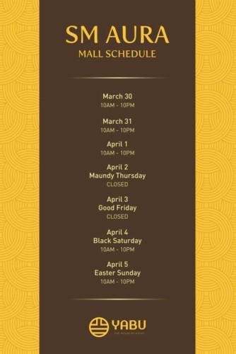 Yabu Holy Week Schedule SM Aura