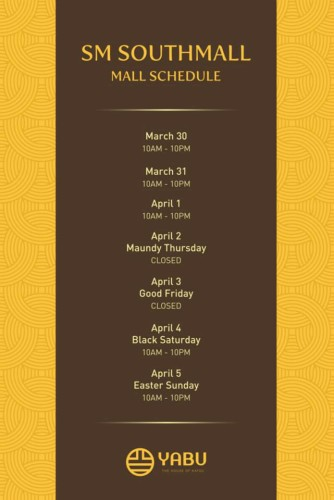 Yabu Holy Week Schedule Southmall