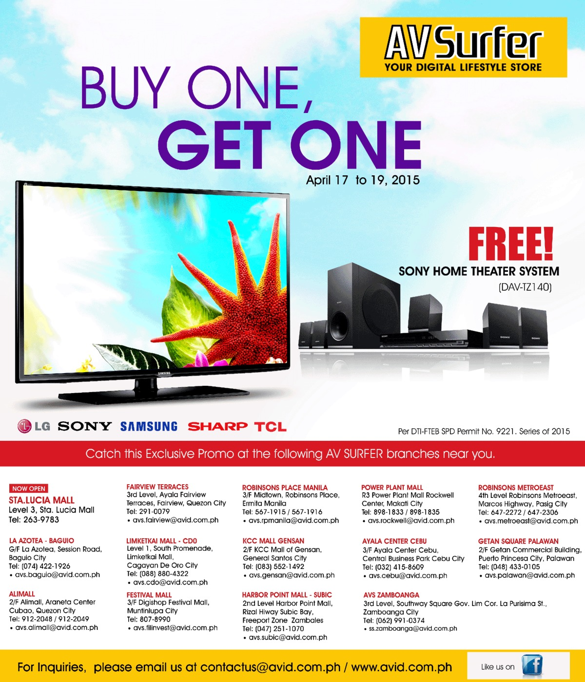 AV Surfer Buy 1 Get 1 Free Sony Home Theater System Worth P9,999!