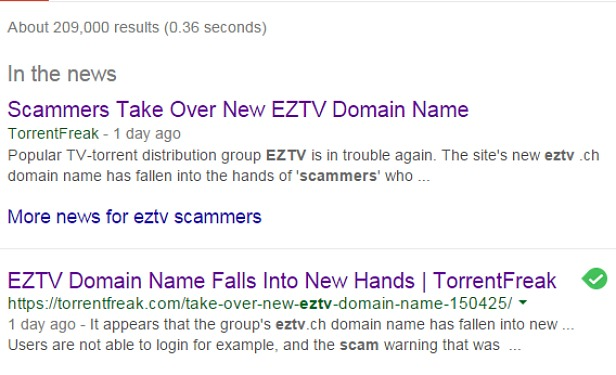 EZTV Taken Over By Scammers