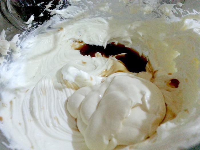 Easy Tiramisu Recipe Beating Cream Cheese Mixture Adding Cream and Vanilla