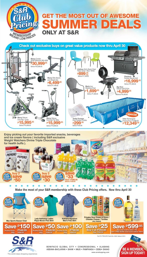 S&R Club Pricing April 2015 Flyer