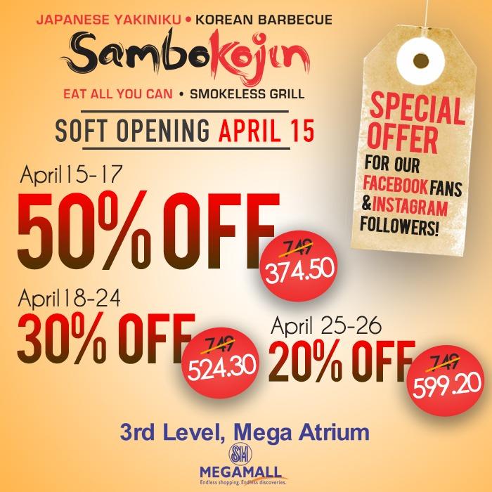 Sambo Kojin Soft Opening 50 OFF Promo SM Megamall