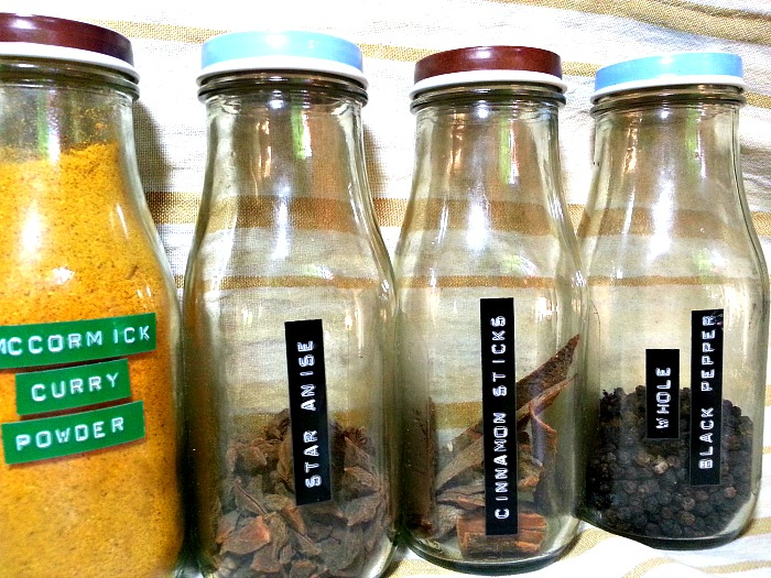 Starbucks Mocha Frappuccino bottles reused as spice containers
