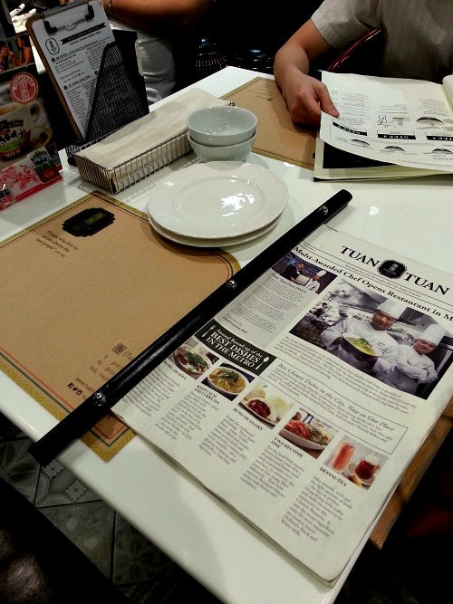 Tuan Tuan Chinese Brasserie Menu Table