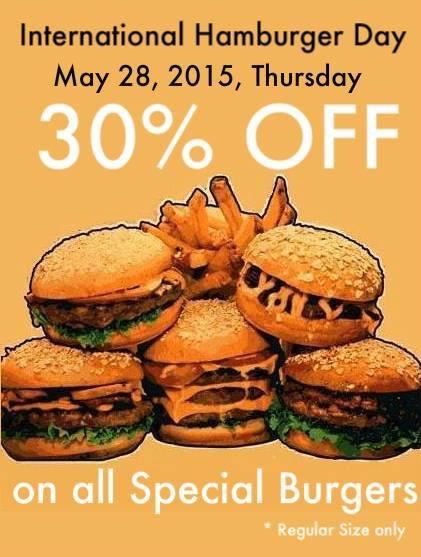 Burger Avenue 30 OFF All Special Burgers May 28 International Hamburger Day