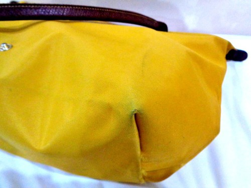 Longchamp Le Pliage Dirty Before Cleaning Close Up