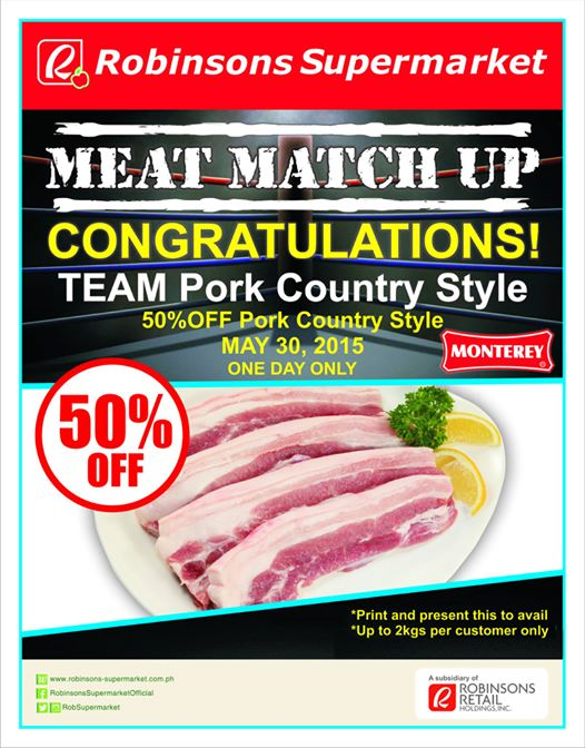 Robinsons Supermarket Monterey Pork Country Style Half Price May 30
