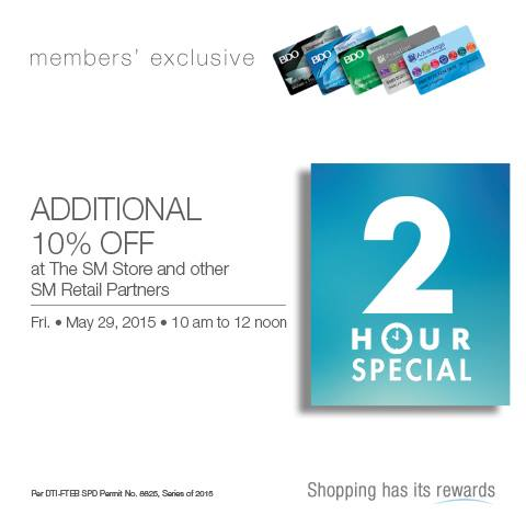 SM 3 Day Sale Additional 10% OFF Discount 2 Hour Special