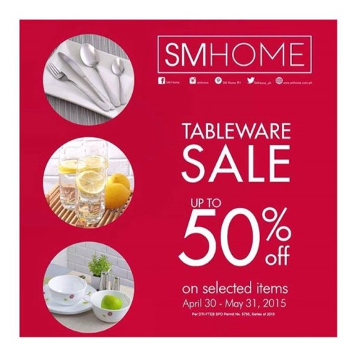 SM Tableware Sale April 30 to May 31 2015