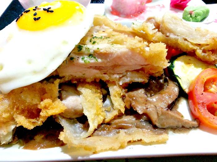 Tokyo Bubble Tea Chicken Katsu Sakura Bento Close Up with Mushroom Sauce