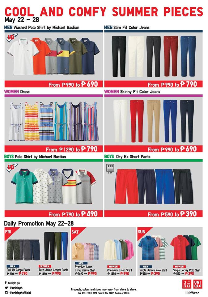 Uniqlo May 22 to 28 Cool and Comfy Summer Pieces Sale