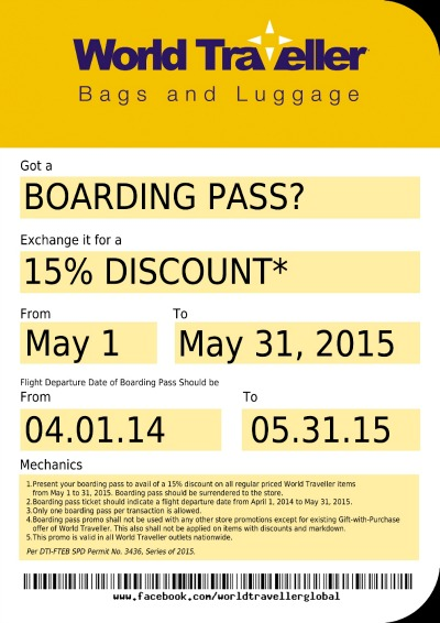 World Traveller Boarding Pass Promo, Get 15% OFF Luggage!