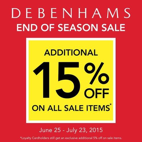 Debenhams End of Season Sale June 2015 Extra 15% OFF