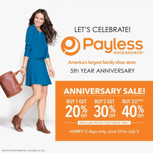 Payless 5th Anniversary Sale June 29 July 3 2015