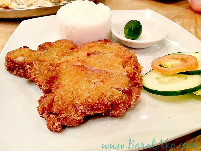 Pins and Bricks Pork Chop Rice Meal