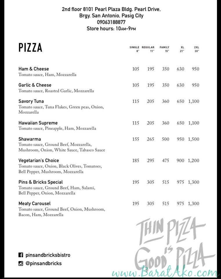 Pins and Bricks Pizza Menu