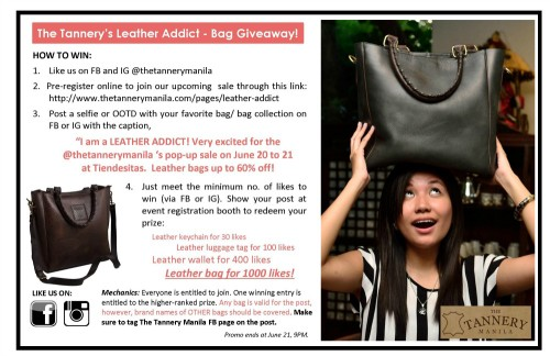 The Tannery Leather Addict Bag Giveaway Mechanics