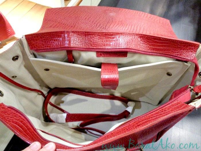 The Tannery Manila Big Red Satchel Inside with Laptop Compartment