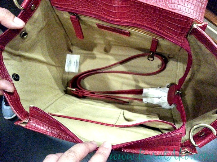 The Tannery Manila Red Satchel Bag Inside
