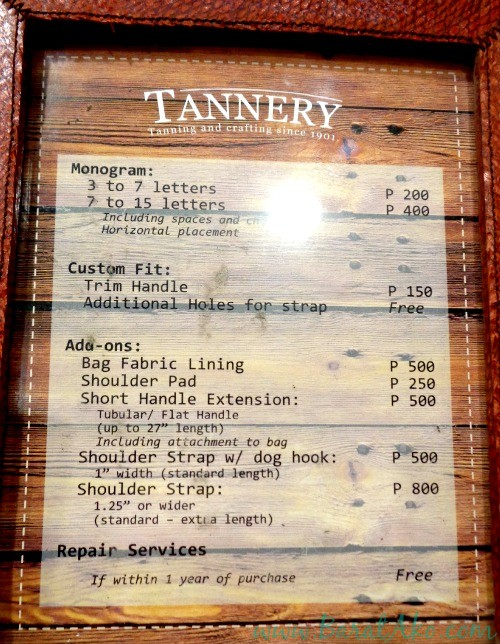 The Tannery Manila Services Repair Rates