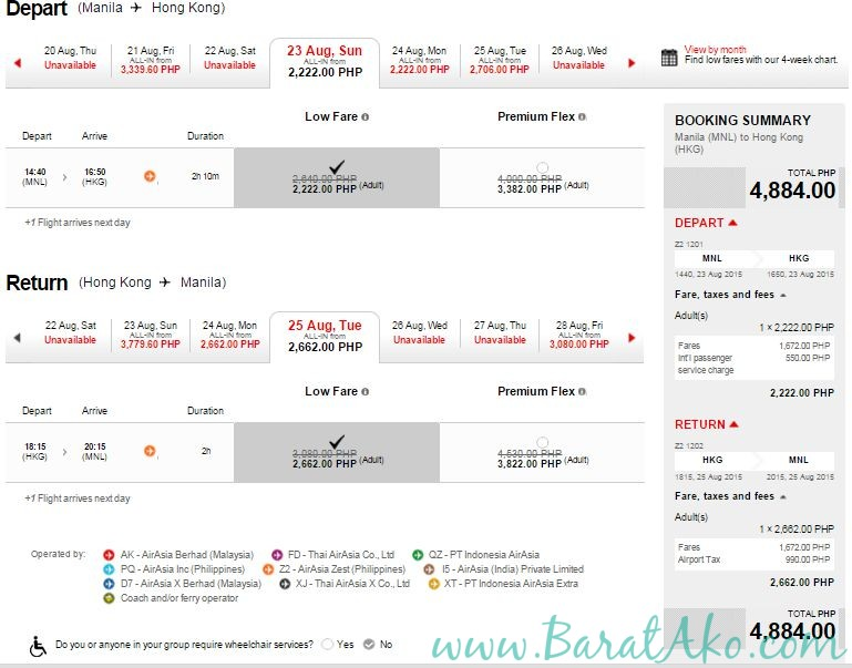 AirAsia sample MNL HKG Flight Promo Fare