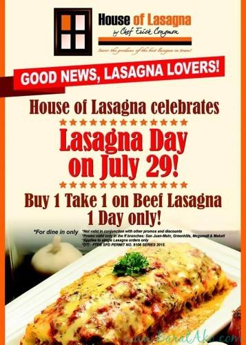 House of Lasagna Buy 1 Take 1 July 29