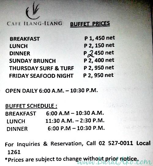 Manila Hotel Cafe Ilang Ilang Buffet Prices