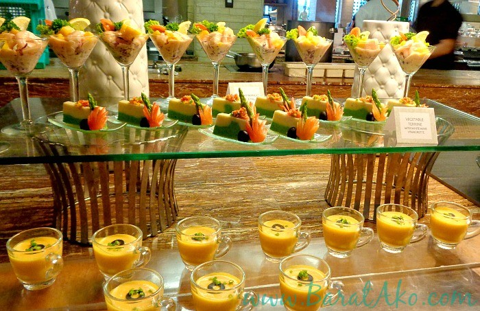 Manila Hotel Cafe Ilang Ilang Buffet Shrimp Mango Cocktail Vegetable Terrine Carrot Soup