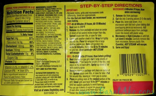 SnR Lloyds Barbecue BBQ Spareribs Cooking Instructions Grill Bake Microwave Oven
