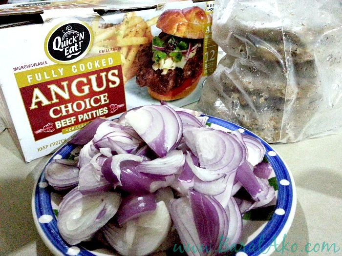 SnR Quick N Eat Angus Beef Patties and Raw Onions