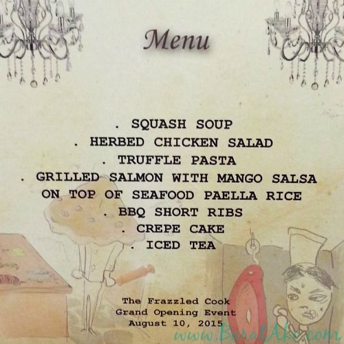 The Frazzled Cook Grand Opening Menu