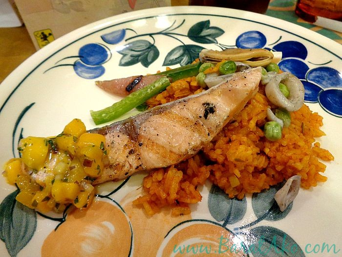 The Frazzled Cook Grilled Salmon Seafood Paella Mango Salsa