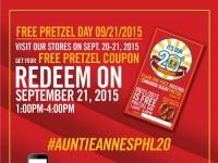 Auntie Anne Free Pretzel Day 20th Anniversary Featured Image