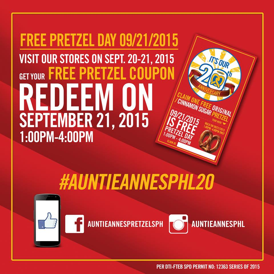 Auntie Anne Free Pretzel Day 20th Anniversary