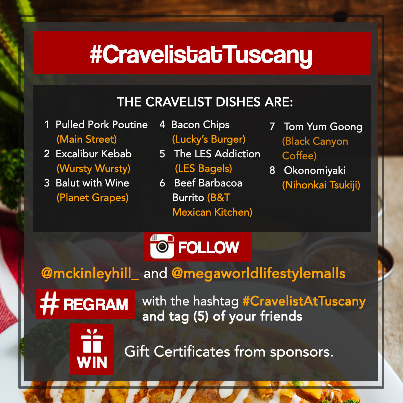 Cravelist at Tuscany Instagram Contest Dishes